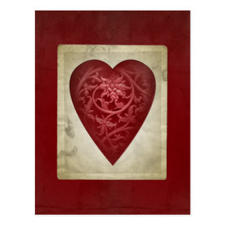 Vintager roter Valentine-Blumenherz-Postkarte Postkarte