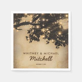 Vintager rustikaler Land-Baum beleuchtet Hochzeit Papierservietten