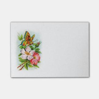 Vintager Schmetterling auf Blumen Post-it Klebezettel