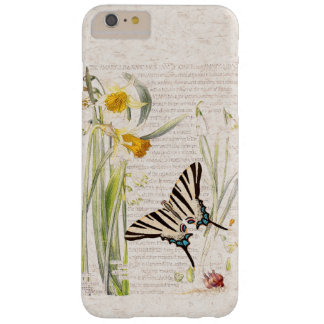 Vintager Schmetterlings-Narzissen-Blumen iPhone 6 Barely There iPhone 6 Plus Hülle