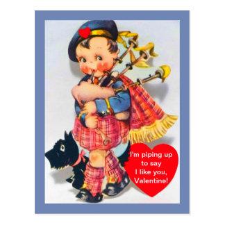 Vintager schottischer DudelsackspielerValentine Postkarte