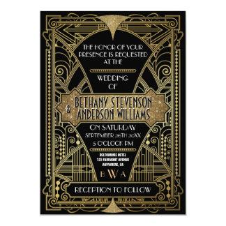 Vintager Schwarz-u. Goldkunst-Deko, der 12,7 X 17,8 Cm Einladungskarte