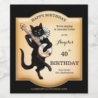 Vintager schwarze Katzen-personalisierter Weinetikett