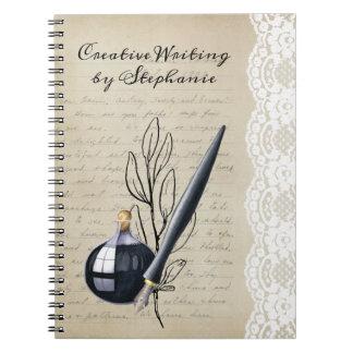 Vintager schwarzer Tintenfass-und Spitzen-Stift Spiral Notizblock