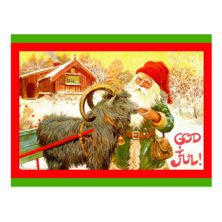 Vintager schwedischer Gnome oder Sankt mit Ziege Postkarte