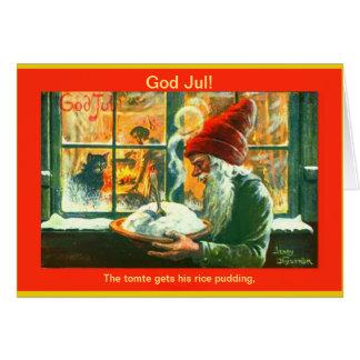Vintager schwedischer Weihnachtsgott Jul Tomte Karte