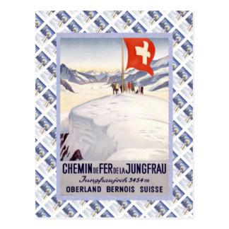Vintager Schweizer Raulway Jungfrau Jungfraujoch Postkarte