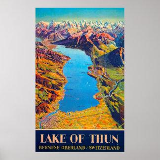 Vintager See von Thun die Schweiz Reise Poster