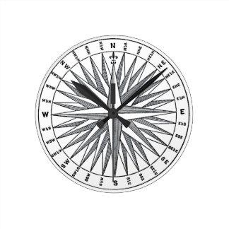 Vintager Seekompass-Entwurf Runde Wanduhr