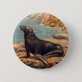 Vintager Seelöwe durch die Küste, Meeressäugetiere Runder Button 5,7 Cm