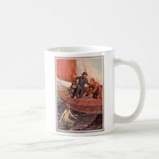Vintager Seemann-Meerjungfrau-Fang Kaffeetasse
