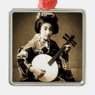 Vintager Sepia tonte den japanischen Geisha, der Quadratisches Silberfarbenes Ornament