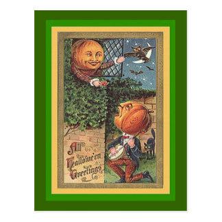 Vintager singenkürbis-Mann Postkarte