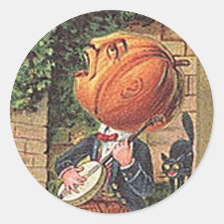 Vintager singenkürbis-Mann Runder Aufkleber