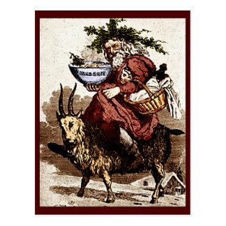 Vintager Skandinavier Sankt u. Weihnachtsziege Postkarte