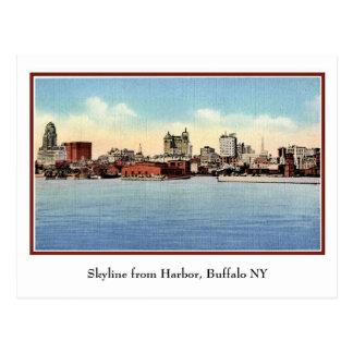 Vintager Skyline vom Hafen, Büffel NY Postkarte