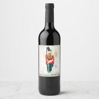 Vintager Spielzeug-Soldat-Weihnachtswein-Aufkleber Weinetikett