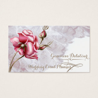 Vintager Spitze-und Rosen-Hochzeits-Planer Visitenkarten