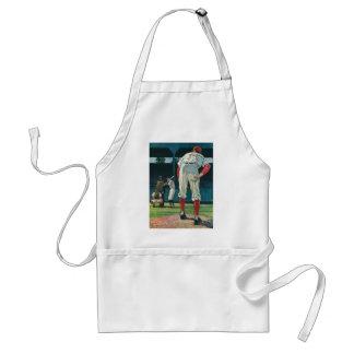 Vintager Sport-Baseball-Spieler-Krug auf Hügel Schürze