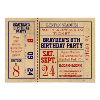 Vintager Sport-Karten-Geburtstag laden - Baseball 12,7 X 17,8 Cm Einladungskarte