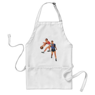Vintager Sport, Mann-Basketball-Spieler mit Ball Schürze