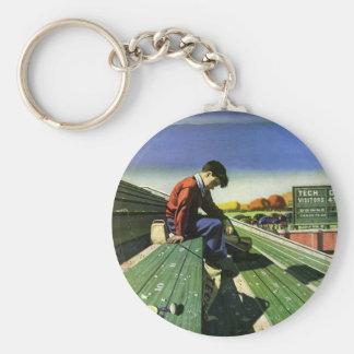 Vintager Sport, trauriger Fußball-Fan mit Megaphon Schlüsselanhänger