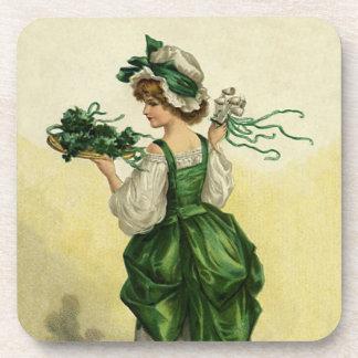 Vintager St Patrick Tag, Frauen-grüne Kleeblätter Untersetzer