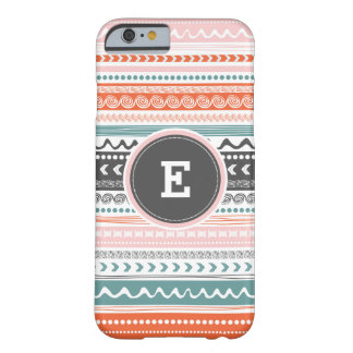 Vintager Stammes- Muster-Monogramm iPhone Fall Barely There iPhone 6 Hülle