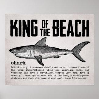 Vintager Strand-König Shark Definition Poster