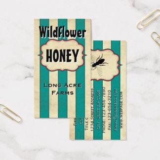 Vintager Streifen-Wildblume-Honig Visitenkarte