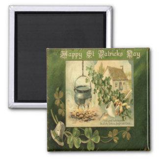 Vintager Tag 7 St. Patricks Quadratischer Magnet