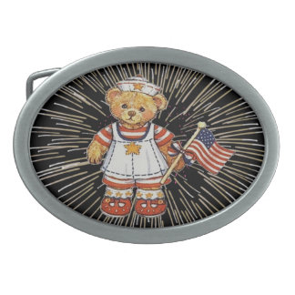 Vintager Teddy-Bär mit Feuerwerk-Gürtelschnalle Ovale Gürtelschnallen
