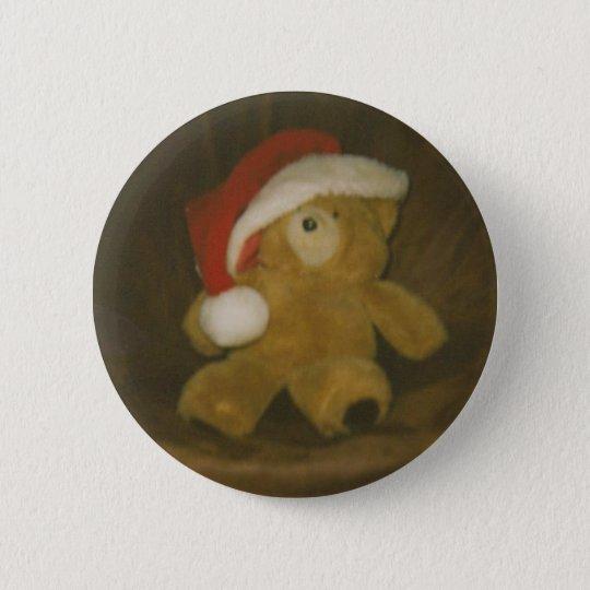 Vintager Teddybär mit Weihnachtsmannmütze Runder Button 5,7 Cm
