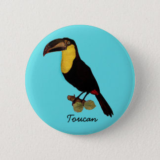 VINTAGER TOUCAN VOGEL. YELLOW-THROATED TOUCAN RUNDER BUTTON 5,7 CM