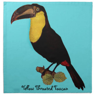 VINTAGER TOUCAN VOGEL. YELLOW-THROATED TOUCAN SERVIETTE