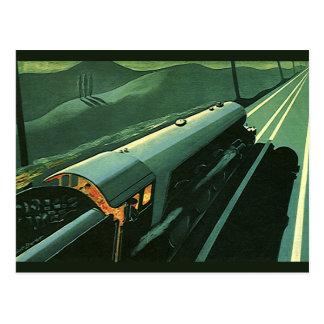 Vintager Transport, grüner beschleunigenzug Postkarte