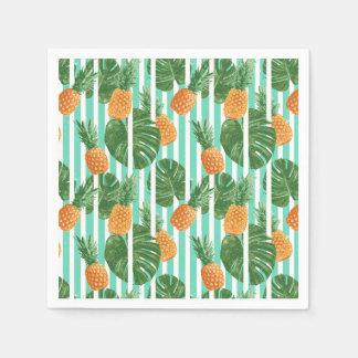 Vintager tropischer Ananas-vektornahtloses Muster Papierserviette