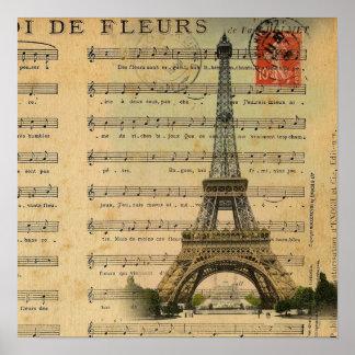 Vintager Turm Musiknoten Paris Eiffel Poster