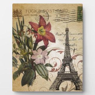 Vintager Turm Paris Eiffel Skripte der botanischen Fotoplatte