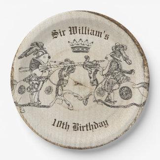 Vintager turnierender Ritter-Kronen-Papier-Teller Pappteller 22,9 Cm