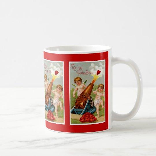 Vintager Valentine mit Herz-Kanone Kaffeetasse