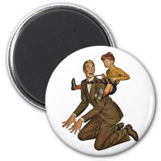 Vintager Vater und Sohn, der lustige, alberne Vate Runder Magnet 5,1 Cm