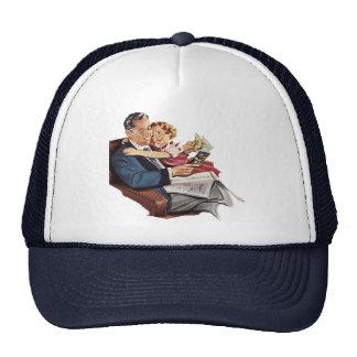 Vintager Vater und Tochter, der glückliche Vaterta Netz Caps