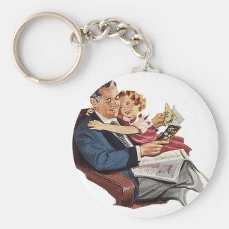 Vintager Vater und Tochter, der glückliche Vaterta Standard Runder Schlüsselanhänger
