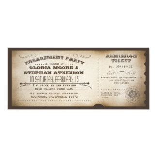 Vintager Verlobungs-Partykarten-Typografieentwurf 10,2 X 23,5 Cm Einladungskarte