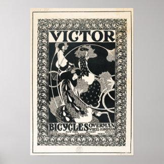 Vintager Victor fährt Anzeige rad Poster
