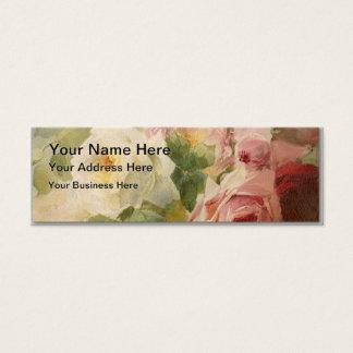 Vintager viktorianischer RoseWatercolor Mini Visitenkarte