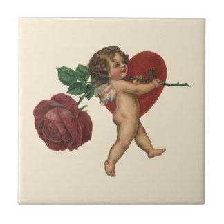 Vintager viktorianischer Valentines-Engel, Kleine Quadratische Fliese