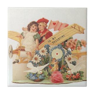 Vintager viktorianischer Valentinstag, Kinder im Kleine Quadratische Fliese