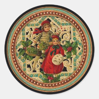 Vintager viktorianischer Weihnachtskinderaufkleber Runder Aufkleber
